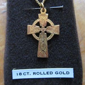 Vintage Rolled Gold 18 CT Celtic Cross Necklace